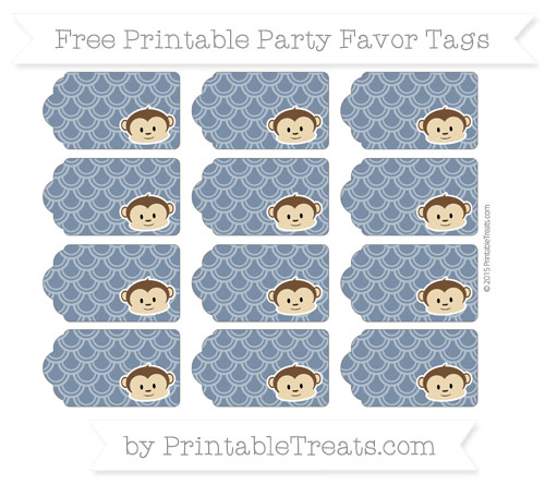 Free Navy Blue Fish Scale Pattern Boy Monkey Party Favor Tags
