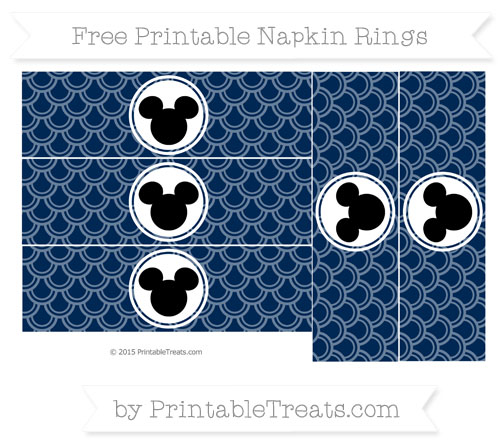 Free Navy Blue Fish Scale Pattern Mickey Mouse Napkin Rings