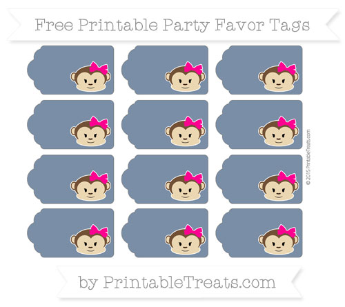 Free Navy Blue Girl Monkey Party Favor Tags