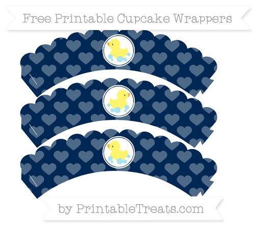 Free Navy Blue Heart Pattern Baby Duck Scalloped Cupcake Wrappers