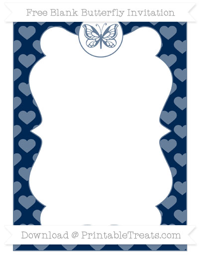 Free Navy Blue Heart Pattern Blank Butterfly Invitation