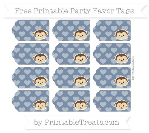 Free Navy Blue Heart Pattern Boy Monkey Party Favor Tags