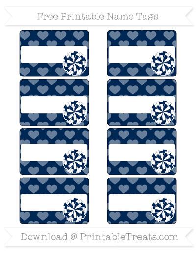 Free Navy Blue Heart Pattern Cheer Pom Pom Tags
