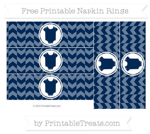 Free Navy Blue Herringbone Pattern Baby Onesie Napkin Rings