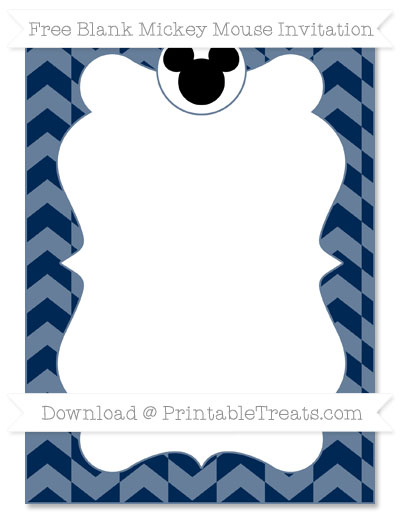 Free Navy Blue Herringbone Pattern Blank Mickey Mouse Invitation