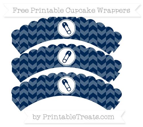 Free Navy Blue Herringbone Pattern Diaper Pin Scalloped Cupcake Wrappers