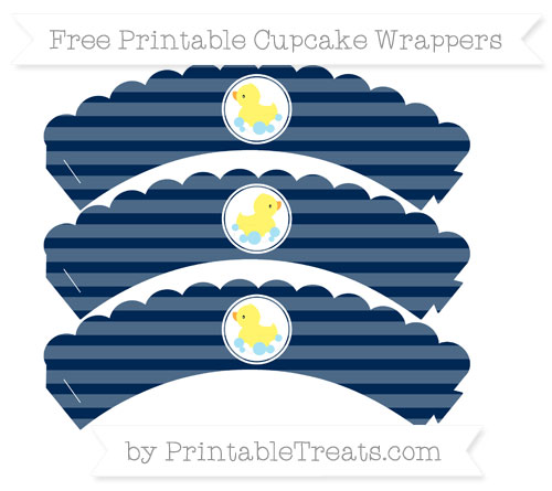 Free Navy Blue Horizontal Striped Baby Duck Scalloped Cupcake Wrappers