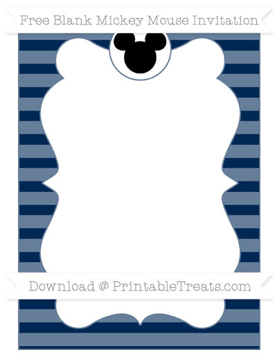 Free Navy Blue Horizontal Striped Blank Mickey Mouse Invitation
