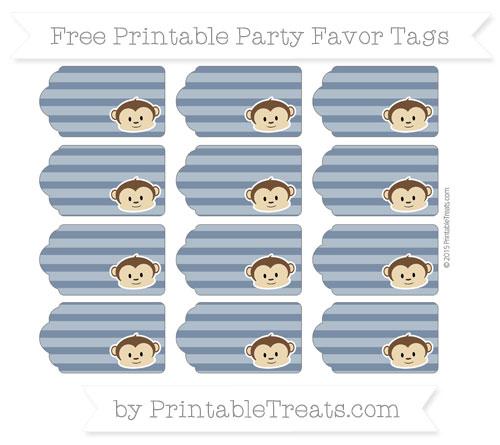 Free Navy Blue Horizontal Striped Boy Monkey Party Favor Tags