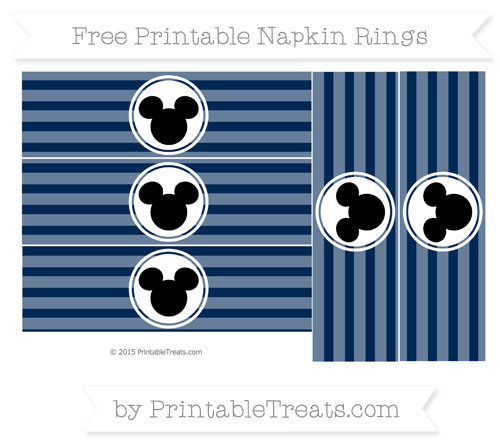 Free Navy Blue Horizontal Striped Mickey Mouse Napkin Rings