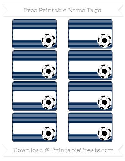 Free Navy Blue Horizontal Striped Soccer Name Tags