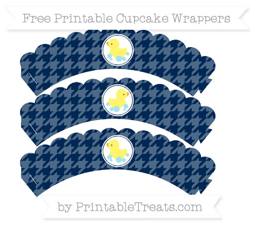 Free Navy Blue Houndstooth Pattern Baby Duck Scalloped Cupcake Wrappers
