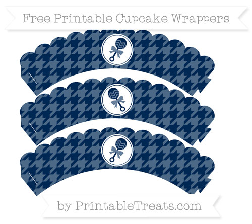 Free Navy Blue Houndstooth Pattern Baby Rattle Scalloped Cupcake Wrappers