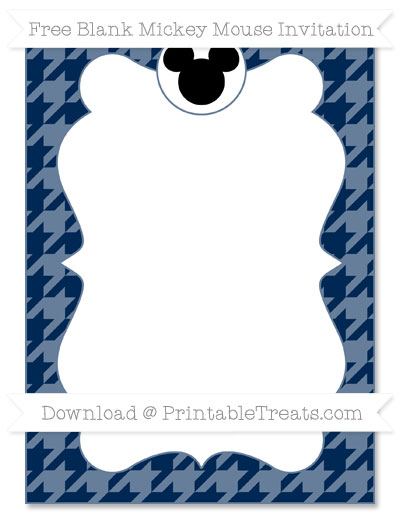 Free Navy Blue Houndstooth Pattern Blank Mickey Mouse Invitation