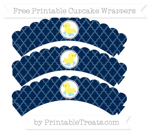 Free Navy Blue Moroccan Tile Baby Duck Scalloped Cupcake Wrappers