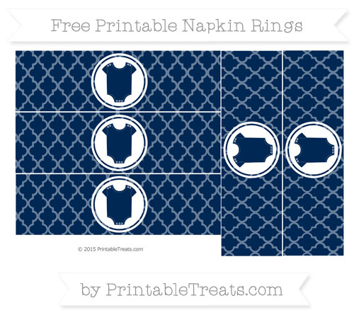 Free Navy Blue Moroccan Tile Baby Onesie Napkin Rings