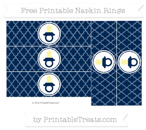 Free Navy Blue Moroccan Tile Baby Pacifier Napkin Rings