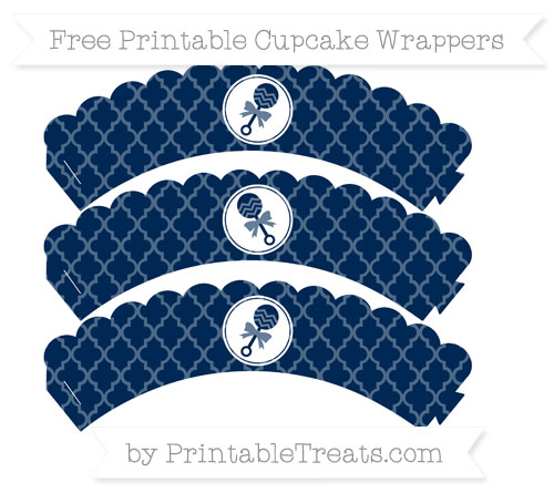 Free Navy Blue Moroccan Tile Baby Rattle Scalloped Cupcake Wrappers