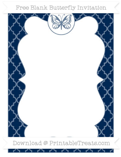 Free Navy Blue Moroccan Tile Blank Butterfly Invitation