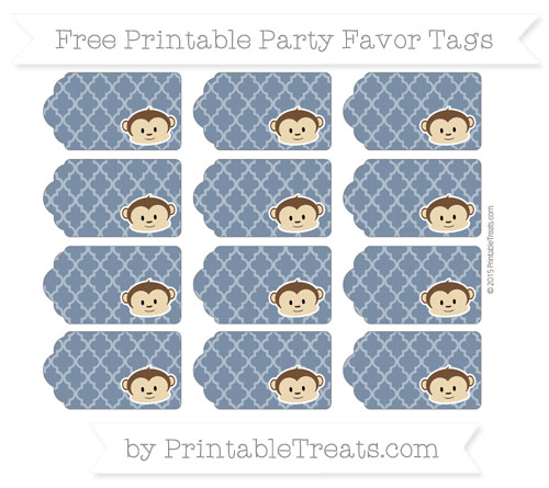Free Navy Blue Moroccan Tile Boy Monkey Party Favor Tags