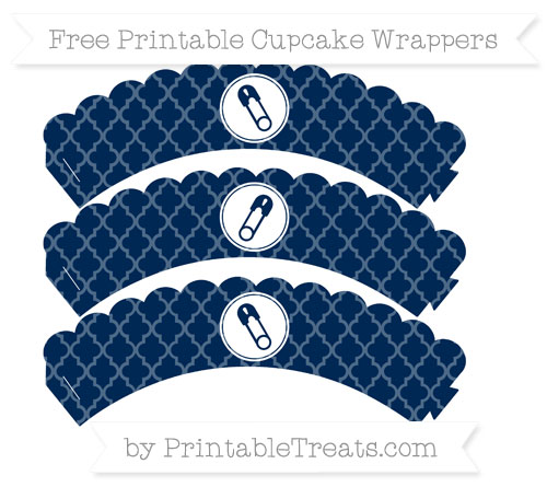 Free Navy Blue Moroccan Tile Diaper Pin Scalloped Cupcake Wrappers