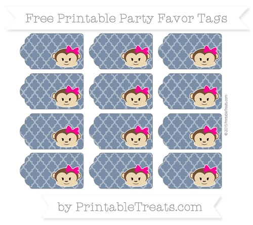 Free Navy Blue Moroccan Tile Girl Monkey Party Favor Tags