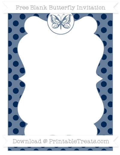 Free Navy Blue Polka Dot Blank Butterfly Invitation
