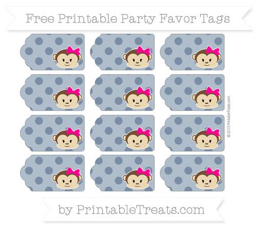 Free Navy Blue Polka Dot Girl Monkey Party Favor Tags