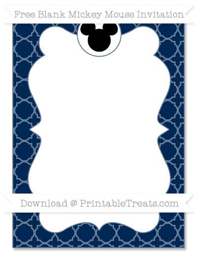 Free Navy Blue Quatrefoil Pattern Blank Mickey Mouse Invitation