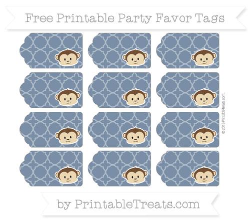Free Navy Blue Quatrefoil Pattern Boy Monkey Party Favor Tags