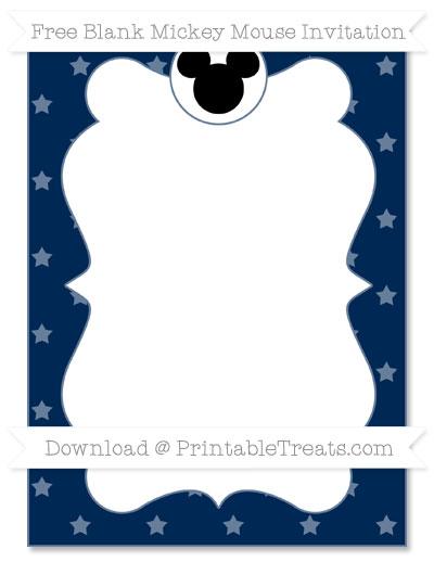 Free Navy Blue Star Pattern Blank Mickey Mouse Invitation