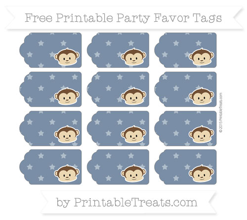 Free Navy Blue Star Pattern Boy Monkey Party Favor Tags