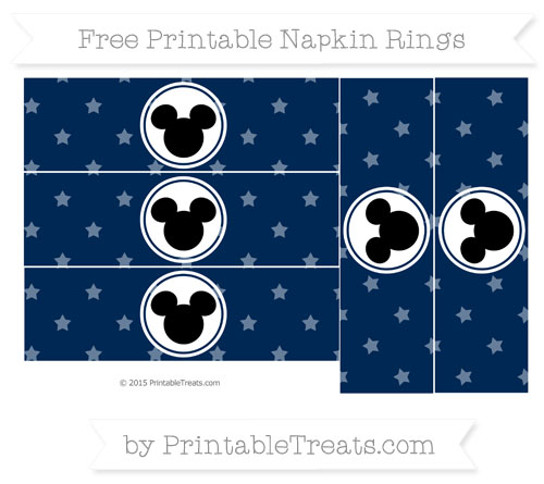 Free Navy Blue Star Pattern Mickey Mouse Napkin Rings