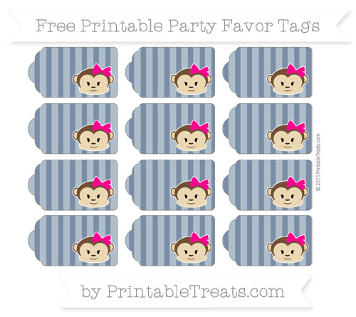 Free Navy Blue Striped Girl Monkey Party Favor Tags
