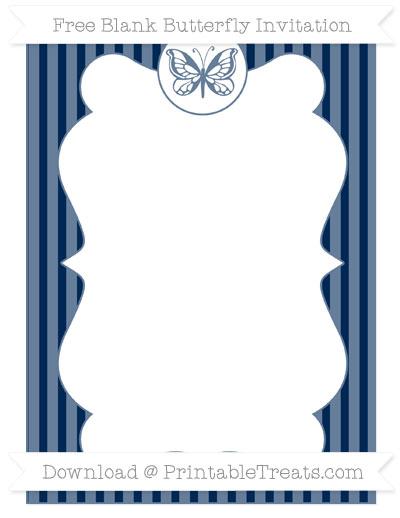 Free Navy Blue Thin Striped Pattern Blank Butterfly Invitation
