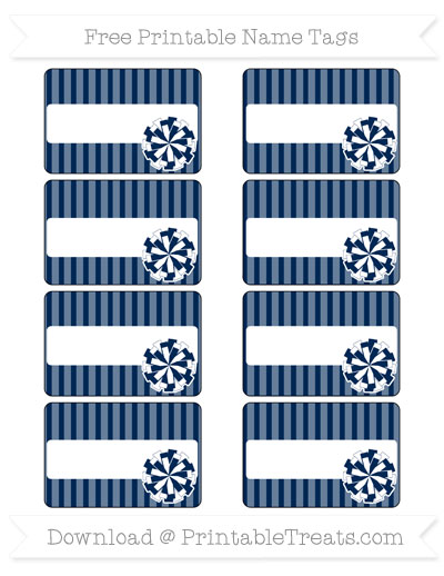 Free Navy Blue Thin Striped Pattern Cheer Pom Pom Tags