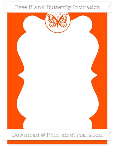 Free Orange Blank Butterfly Invitation
