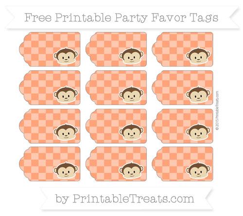 Free Orange Checker Pattern Boy Monkey Party Favor Tags
