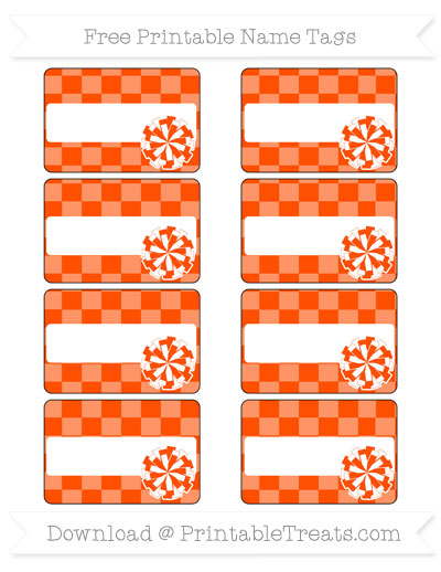 Free Orange Checker Pattern Cheer Pom Pom Tags