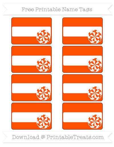 Free Orange Cheer Pom Pom Tags
