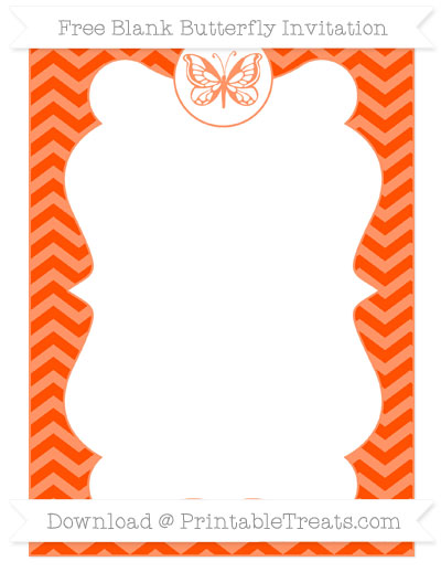Free Orange Chevron Blank Butterfly Invitation