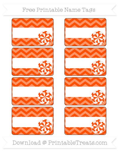 Free Orange Chevron Cheer Pom Pom Tags