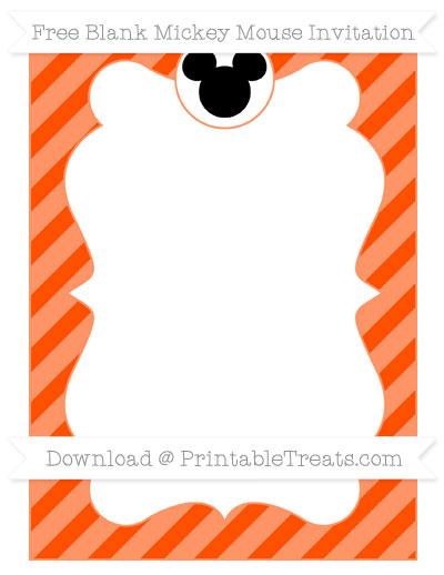 Free Orange Diagonal Striped Blank Mickey Mouse Invitation