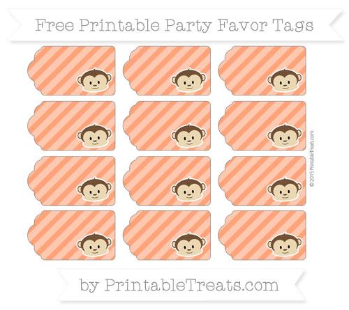 Free Orange Diagonal Striped Boy Monkey Party Favor Tags