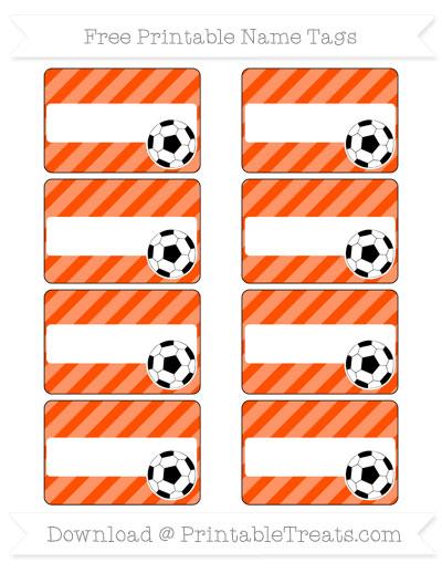 Free Orange Diagonal Striped Soccer Name Tags