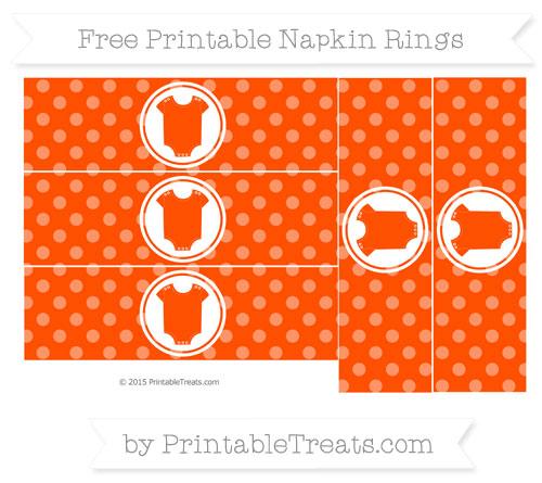 Free Orange Dotted Pattern Baby Onesie Napkin Rings