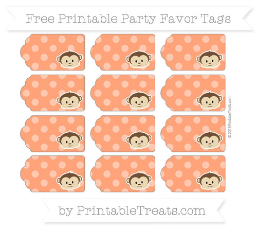 Free Orange Dotted Pattern Boy Monkey Party Favor Tags