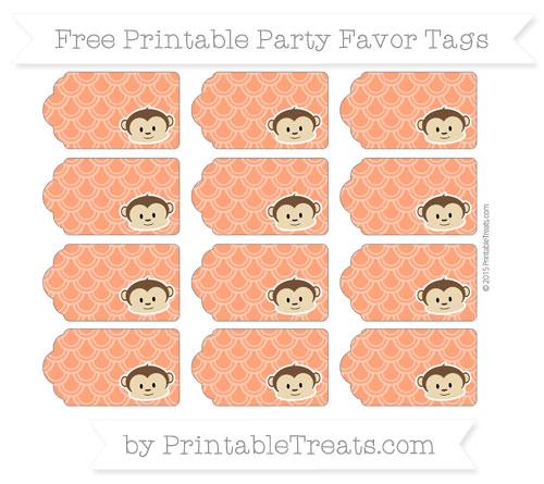 Free Orange Fish Scale Pattern Boy Monkey Party Favor Tags