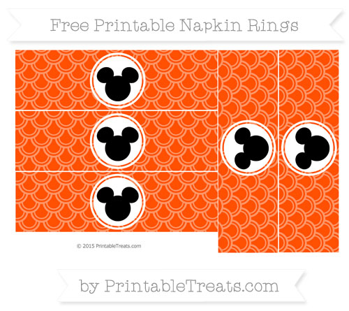 Free Orange Fish Scale Pattern Mickey Mouse Napkin Rings