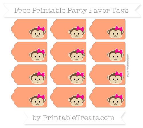 Free Orange Girl Monkey Party Favor Tags